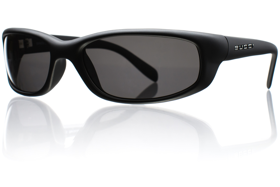 Barracuda Black Matte Grey Polycarbonate Polarized Angle Bucci Sunglasses wb
