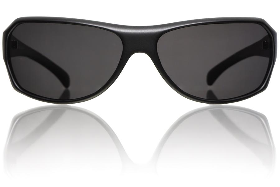 Model R1 Black Matte Grey Polycarbonate Polarized Front Bucci Sunglasses wb