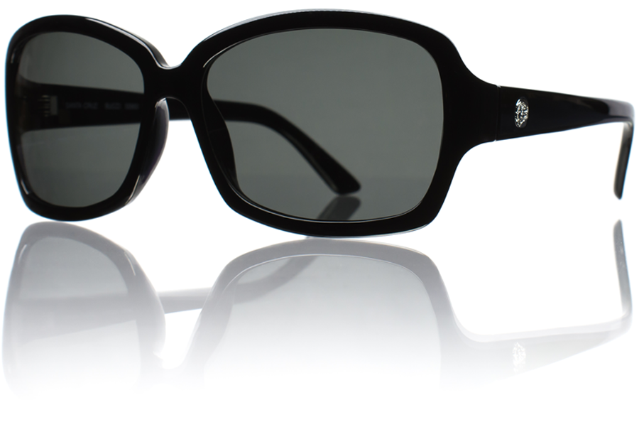 Saphira Black Grey Polycarbonate Polarized Angle Bucci Sunglasses wb