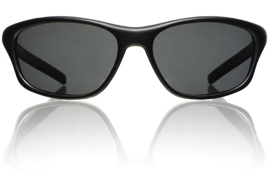 Velocity Black Matte Grey Polycarbonate Polarized Front Bucci Sunglasses wb